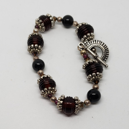 Red, black and Silver Bracelet