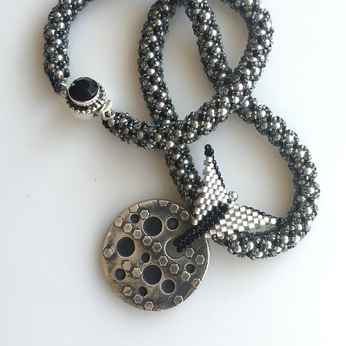 Luxurious Artisan Silver Pendant on Beaded Rope