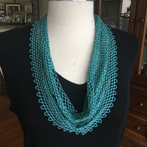 Turquoise Beaded Scarf