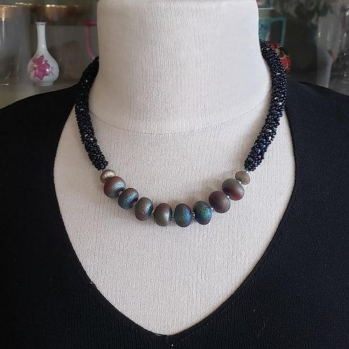 Raku Focal Beads on Swarovski Pearl Beaded Rope
