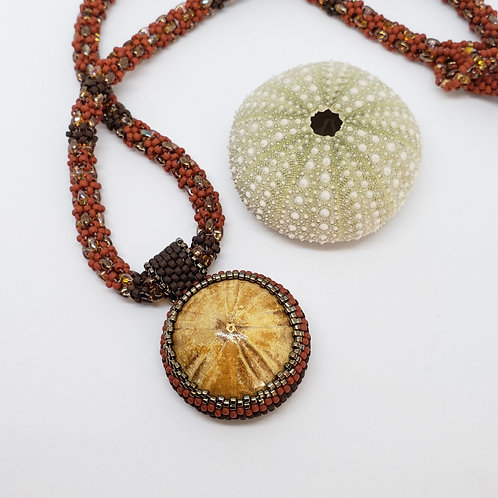 Sea Anemone on Red Gold and Brown Beaded Rope