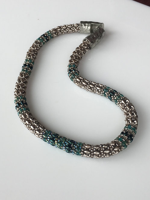 Silver and Turquoise Metallic Necklace