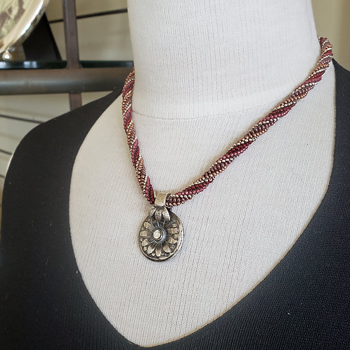 Red, Silver and Gold Beaded Necklace with Silver Pendant