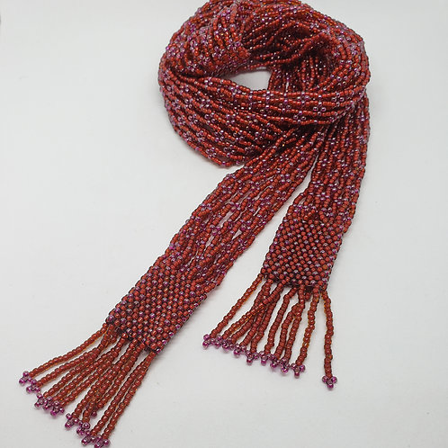Beaded Tie. Red Lariat. Red and Purple Fringe. Dressy or Casual. Flower Beaded D