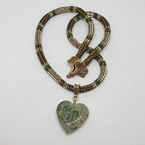 Lampwork Glass Heart on Beaded Rope with Bronze Clasp and Bail