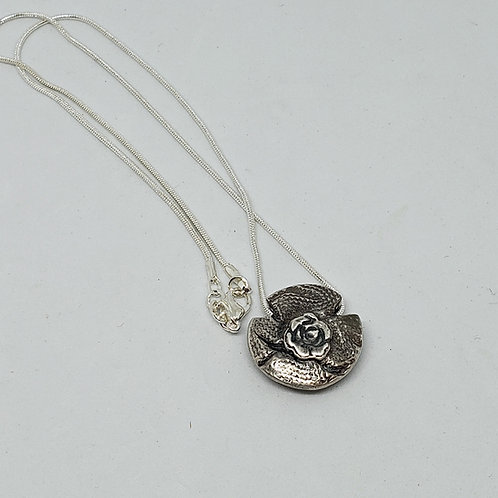 2 Sided Silver Pendant. Rose on a Wall. Circle and Dots. Lentil Pendant