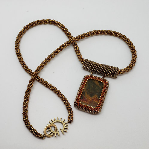 Green and Orange 2 sided Beaded Focal on Bronze Beaded Rope