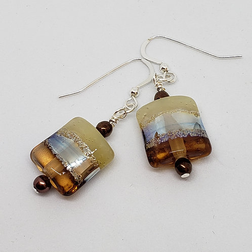 Copper Gold and Silver Lampwork Earrings