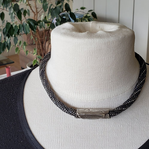 "Pure Silver ""wood"" Tubular Focal on Brown and Grey Beaded Rope"