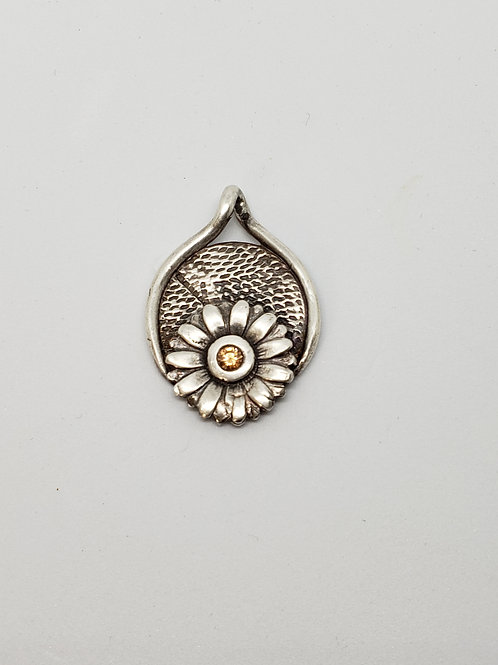 Gentle Flower Silver Pendant with CZ