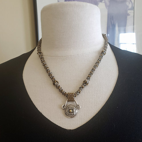 Rich Royal Elegant. Mixed Metals Beaded Rope. Pure Silver and Gold Pendant.