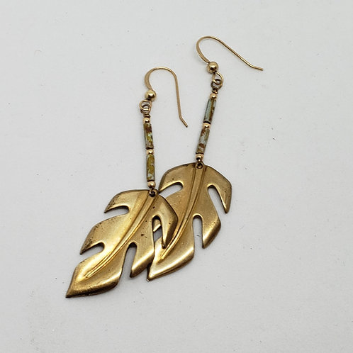 Vintage Pressed Brass Leaves with Turquoise Earrings