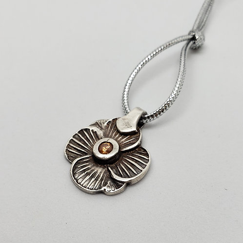 Wavy Silver Flower with Pink Center
