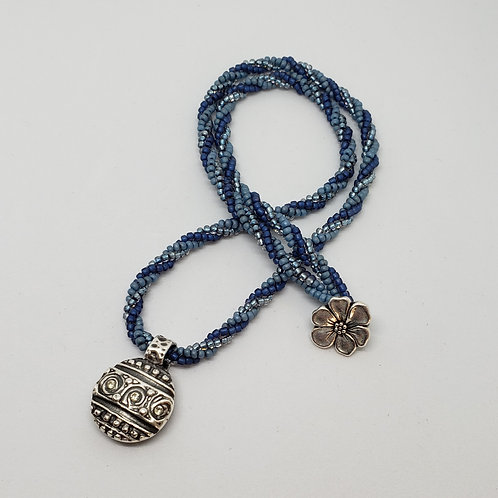 Silver Pendant with CZ Crystals and Blue and Silver Beaded Rope