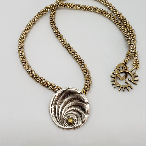 Pure Silver and 14 kt Gold Pendant on Gold Beaded Rope