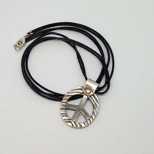 Textured Peace Sign on Double Black Cord
