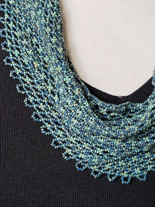 Denim and Turquoise Beaded Scarf