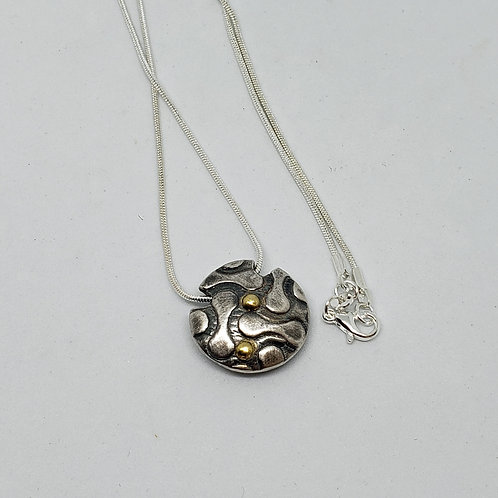 2 Sided Silver Pendant. Rose Flower and Gold Dots. Lentil Pendant