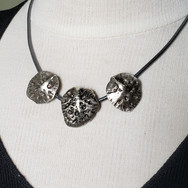 3 Piece Silver Pendant on Black Cord