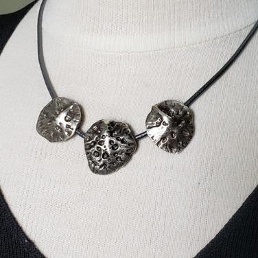 3 Piece Silver Pendant on Black Cord