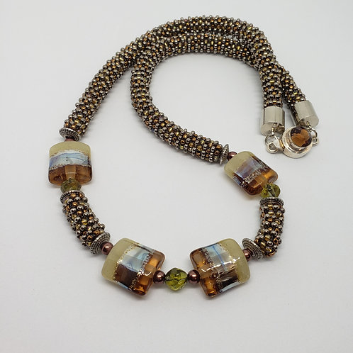 Silver Gold and Copper Lampwork Focal Necklace