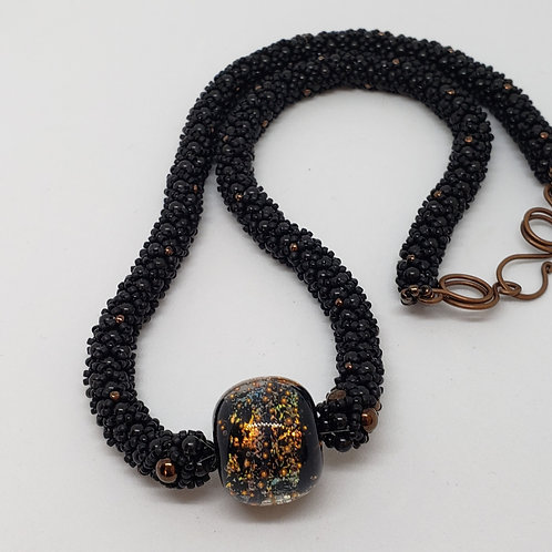 Black and Bronze Beaded Rope Necklace