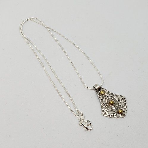 Medallion with Gold Dots Silver Pendant