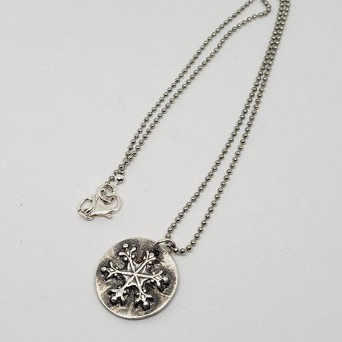 Silver Snowflake Round Pendant