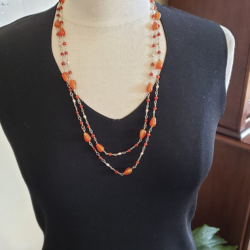 All Carnelian and Silver Very Long Necklace