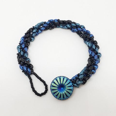 Black Navy Turquoise slinky bracelet.jpg