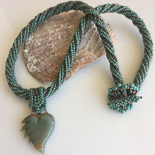 Turquoise and Copper Beaded Rope with Heart Focal