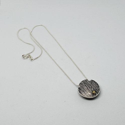Leaf Texture. 3 Dots of Gold. Pure Silver Lentil Pendants. Geometric Designs