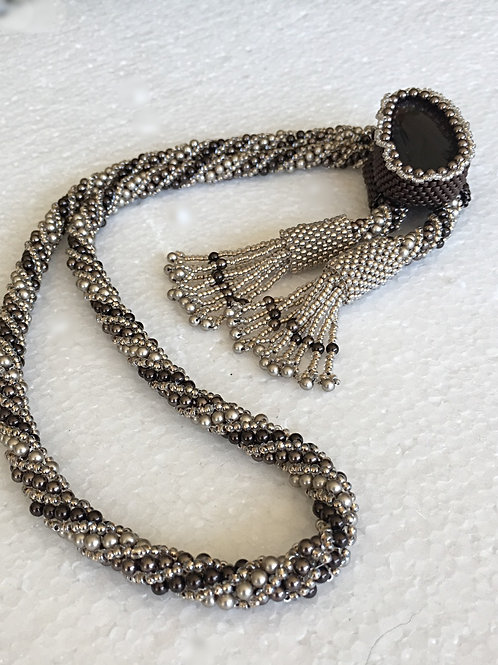 Platinum, Brown and Silver Rope with Brown Agate Focal