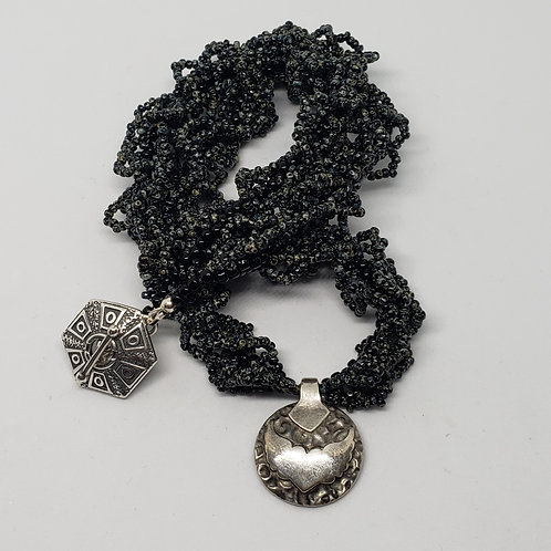 Black and Charcoal Beaded Rope with Pure Silver Wings Pendant