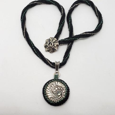 Pure Silver Pendant with Green Nano and