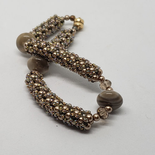 Taupe Swarovski Pearl Bracelet with Jasper
