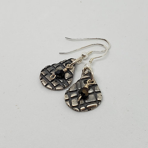 Textured Teardrop with Black Faceted Focal Earrings
