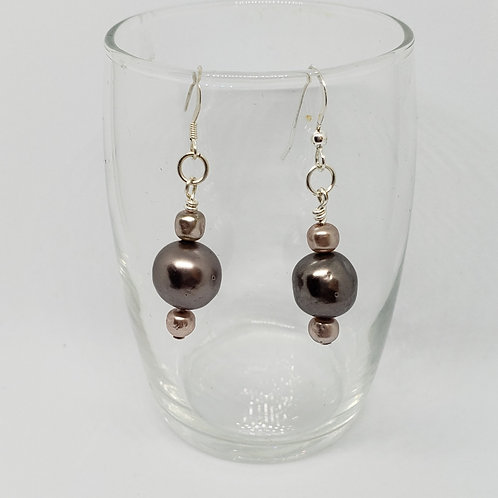 Taupe and Cream Freshwater Pearl Earrings