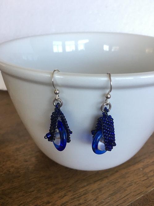 Blue Pinwheel Earrings