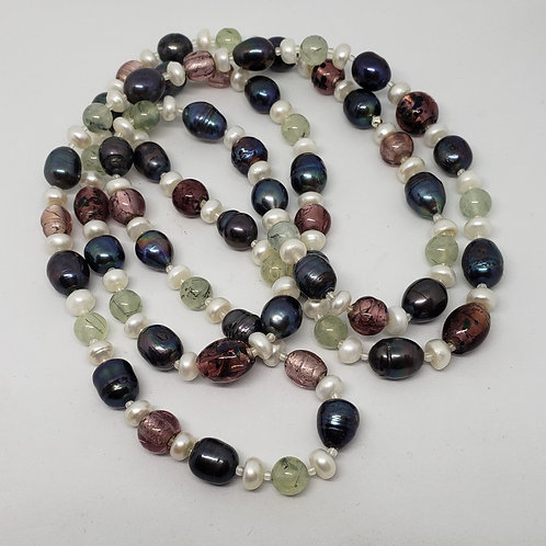 Very Long Multi Pearl Necklace