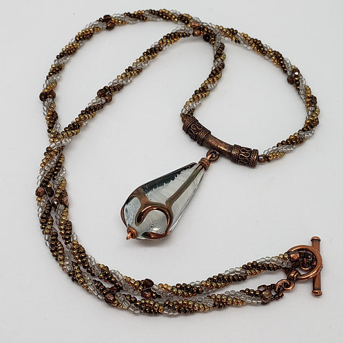 Unique Crystal and Copper Drop focal on copper and white beaded rope