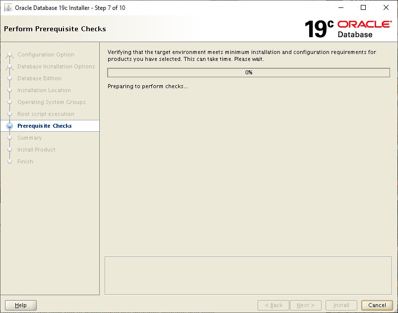 oracle database 19c installer - perform prerequisite checks
