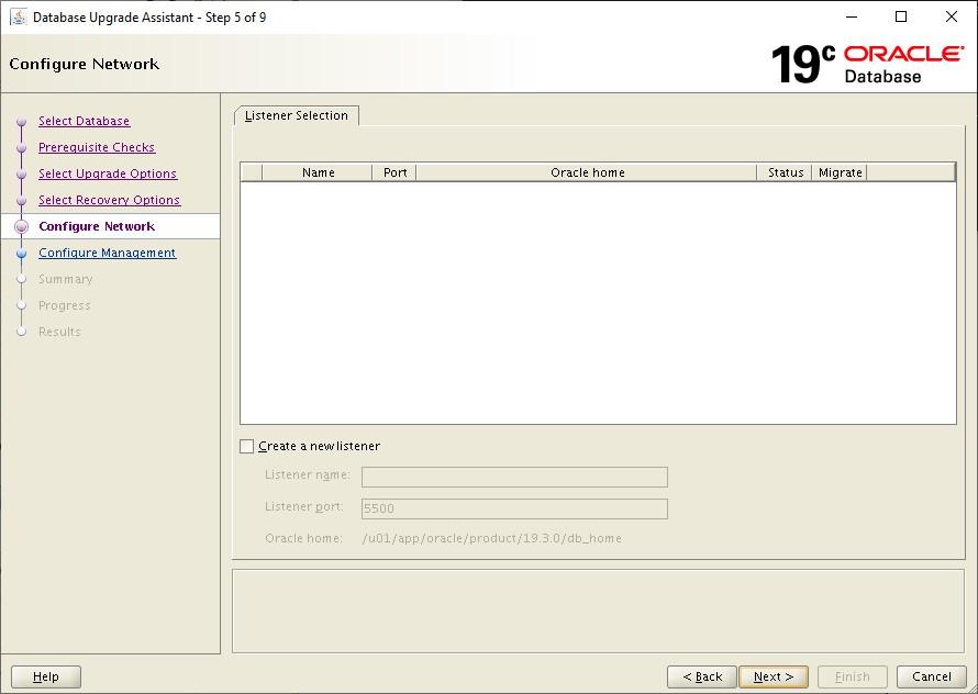 dbua - configure network for 19c