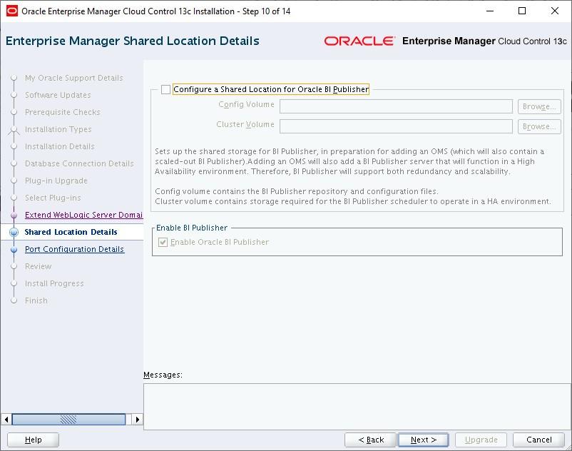 oracle enterprise manager cloud control 13c installation - enterprise manager shared location details