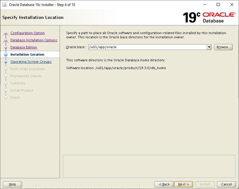 oracle database 19c installer - oracle base location