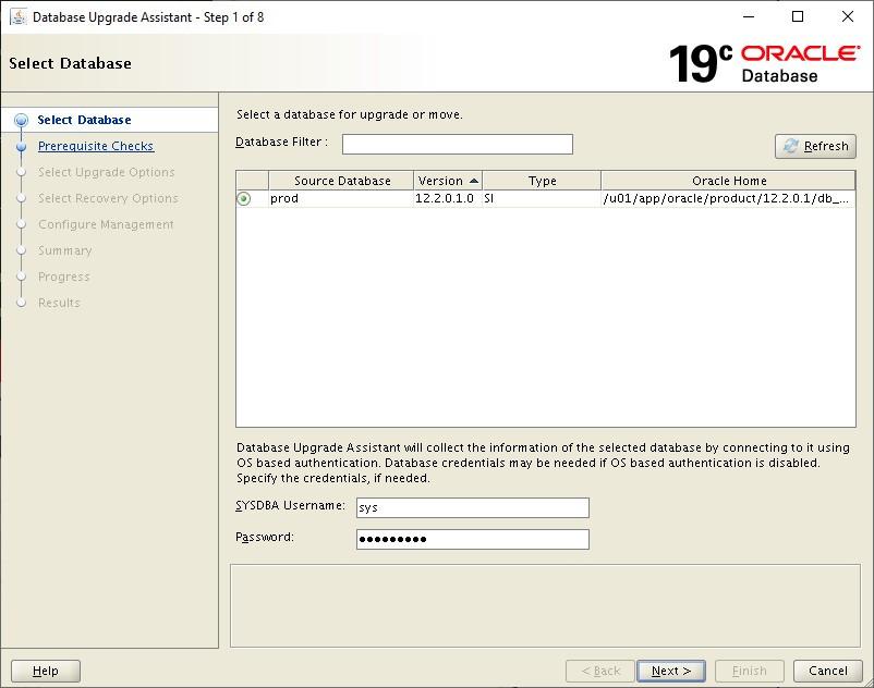 database upgrade assistant - dbua select database
