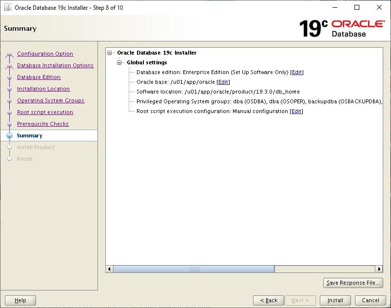 oracle database 19c installer - summary