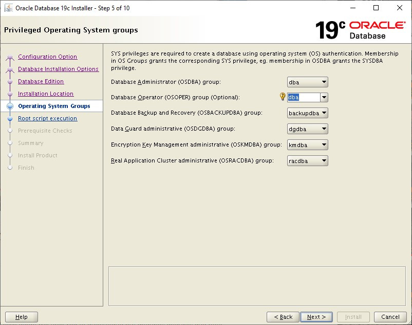 oracle database 19c installer - operating system groups
