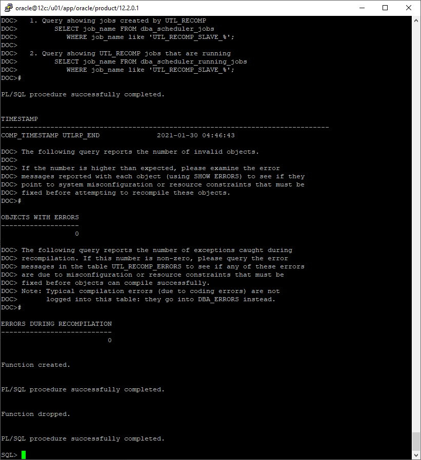 oracle database migration from windows to linux - utlrp.sql