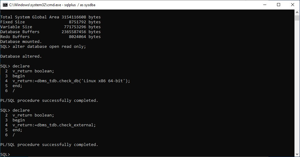 rman windows to linux migration - check external objects inside database